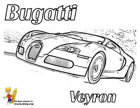Print picture of bugatti veyron exotic car front view at yescoloring