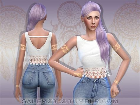 Crop Top Blouse Cc lace crop top at salem2342 via sims 4 updates sims 4 is