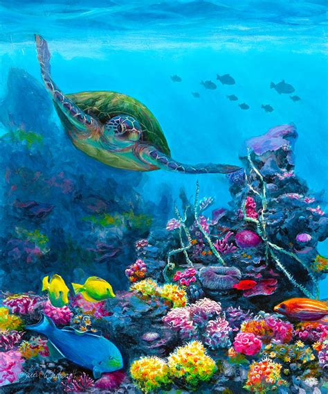 Under The Sea Wall Mural secret sanctuary hawaiian green sea turtle and reef