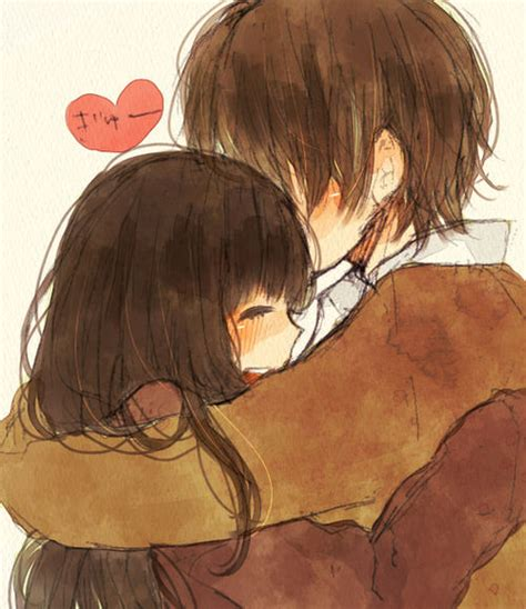 anime couple hugging hug image 907339 by awesomeguy on favim com