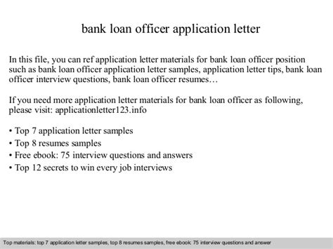 Letter To Bank For Loan Payment Bank Loan Officer Application Letter
