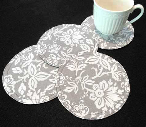 pattern fabric coasters gray fabric coasters quilted gray home decor modern elegant 4