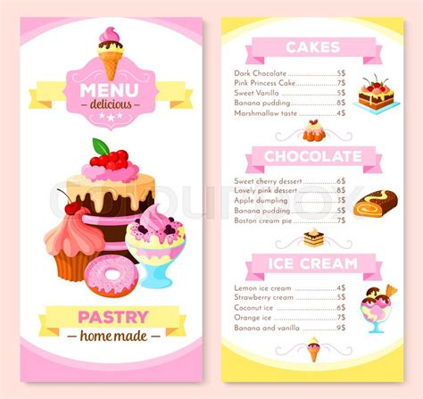 cupcake price list template pastry and dessert cakes menu template vector
