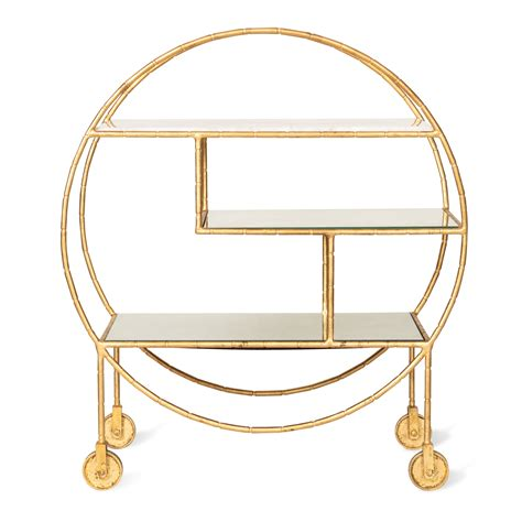 luxe round bamboo drinks trolley drinks trolley and