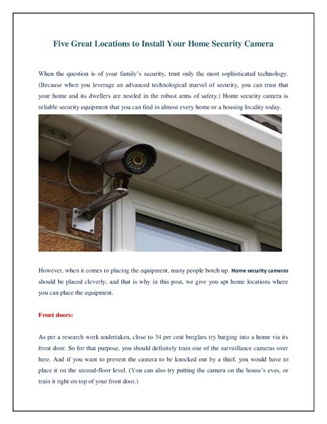 five great locations to install your home security