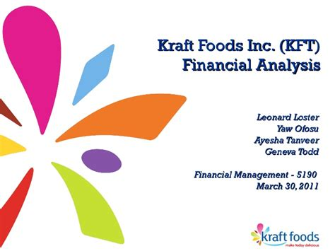 Kraft Foods Mba Program by Financial Analysis Kraft Foods Inc Kft