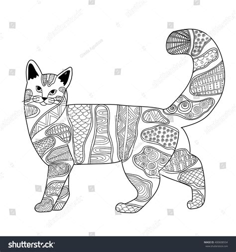 anti stress colouring book doodle and cat antistress coloring book adults black stock vector