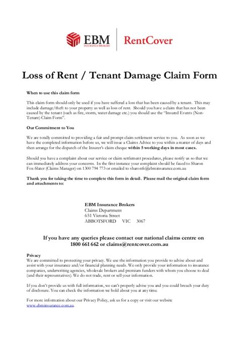 Insurance Claim Letter For Damaged Mobile Phone Loss Of Rent Tenant Damage Claim Form
