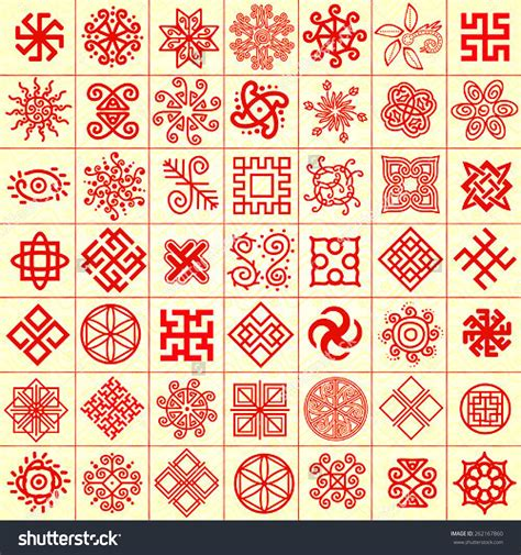 ethnic pattern meaning ethnic geometric signs set set of icons with slavic pagan