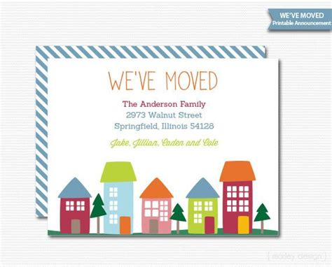 free printable moving announcement card template new home invitation new home announcement we ve moved