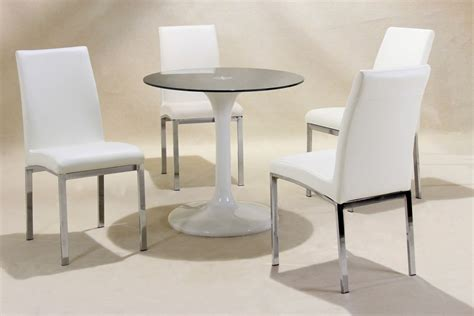 Small Round White High Gloss Glass Dining Table And 4 Chairs Small Circular Dining Table And Chairs
