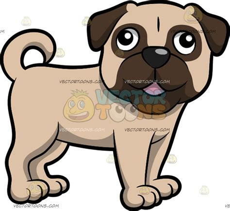 pug clipart an adorable looking pug standing and looking to the