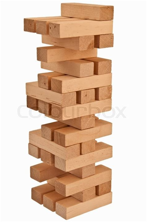 balanced wood block tower stock photo colourbox