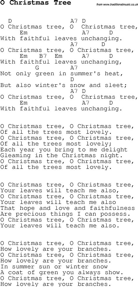 christmas carol song lyrics with chords for o christmas tree