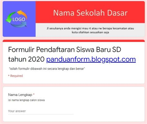 contoh google form panduan form