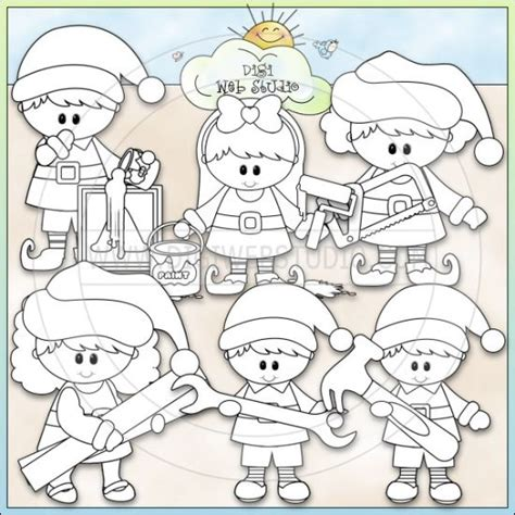elves workshop coloring pages santas workshop elves and digi sts on pinterest