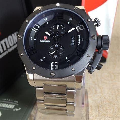 Jam Tangan Pria Expedition E6686 Original Black jual jam tangan pria expedition 6381 silver black original di lapak cs koleksijamtangan