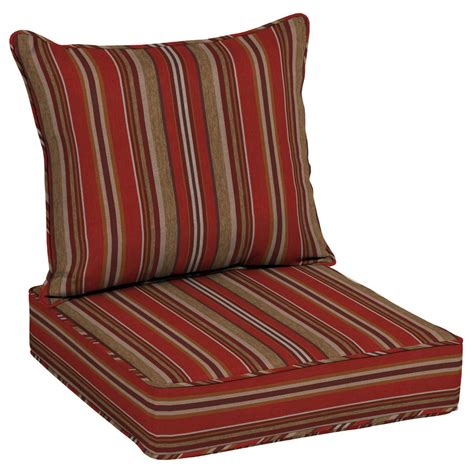Shop Allen Roth Priscilla Stripe Red Collection Stripe Patio Chair Seat Cushions