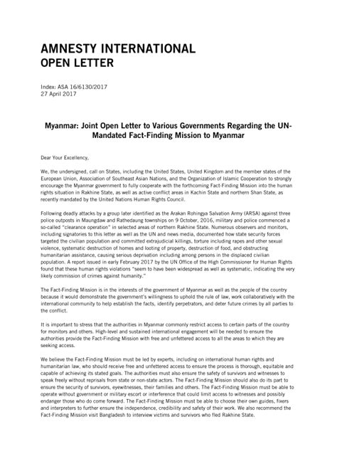 Release Letter Uws myanmar joint open letter to various governments regarding the un mandated fact finding mission
