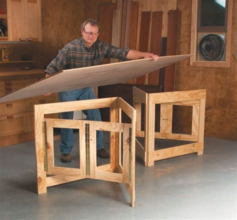 hinged frames give broad based support woodworking shop