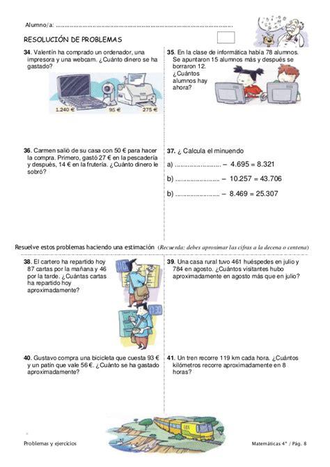 ejercicios tiempo y dinero de 4 de primaria santillana bonito problemas para cuarto de primaria galer 237 a de