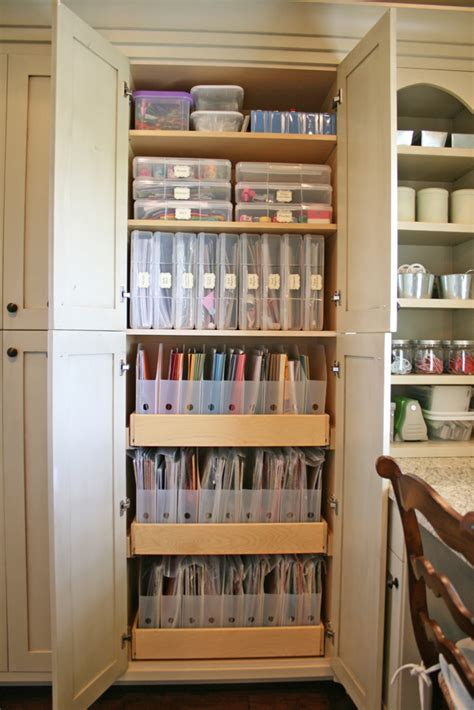 scrapbook room with built in craft storage
