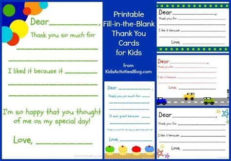 fill in the blanks thank you letter fill in the blank thank you note free printable kid