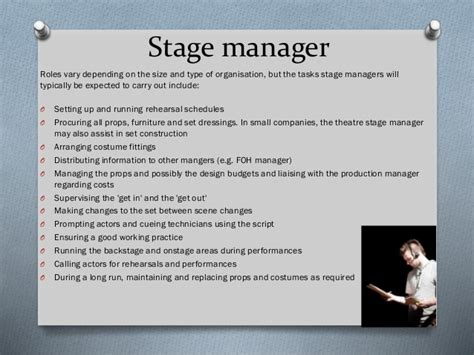 Stage Manager Description gc1 roles in the production arts industry