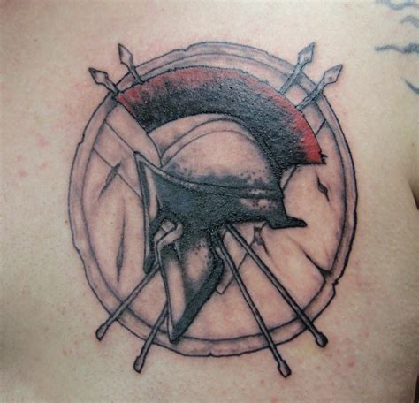 spartan helmet and shield tattoo designs pictures to pin