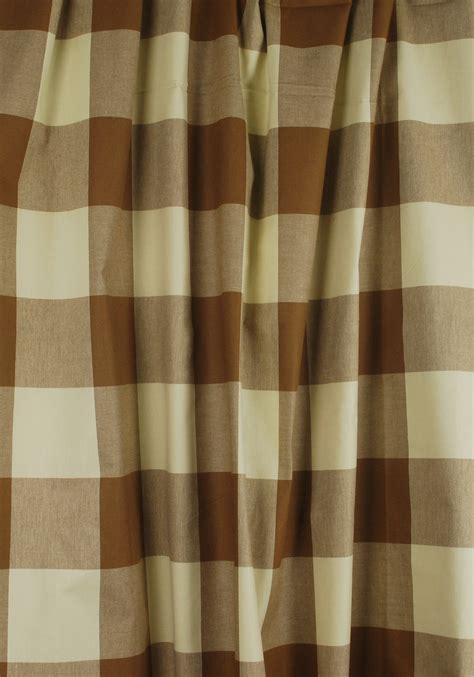 cream check curtains brown cream buffalo check drapery fabric poseidon acorn