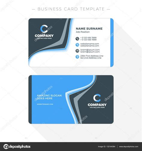 Double Sided Business Card Template With Abstract Blue And Black Waves Background Vector Sided Business Card Template