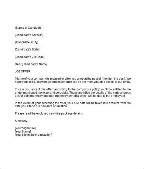 job offer letter 9 free download for word
