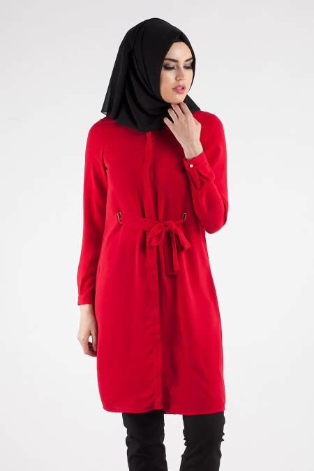Mainaka Tunik Big Size nayla collection d 252 ğmeli kırmızı tesett 252 r tunik 826k tesetturisland