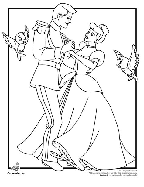 disney s cinderella coloring pages cinderella and prince