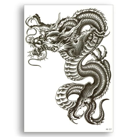 chinese dragon fake tattoo water transfer waterproof