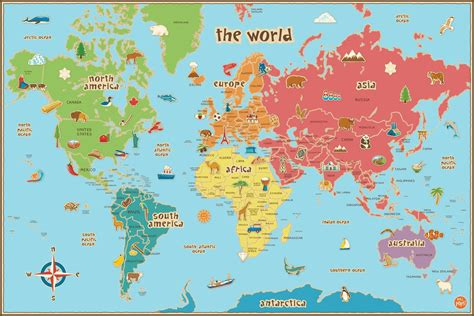 world s world map kids printable