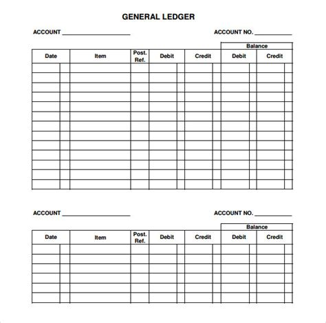 7 Sle General Ledger Templates Sle Templates Ledger Sheet Template Free