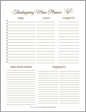 free thanksgiving menu planner a virtuous woman