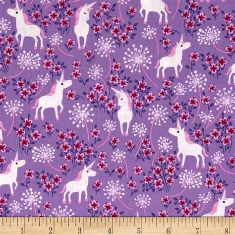 unicorn pattern fabric ctown multi accent colors lilacs and pink white