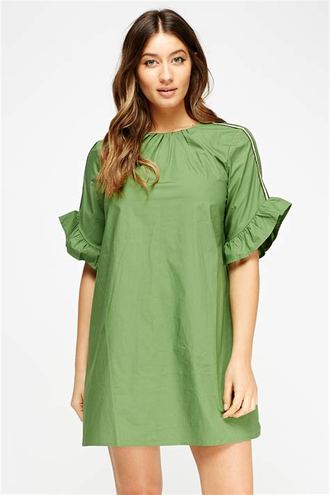 flared sleeve a line dress just 163 5