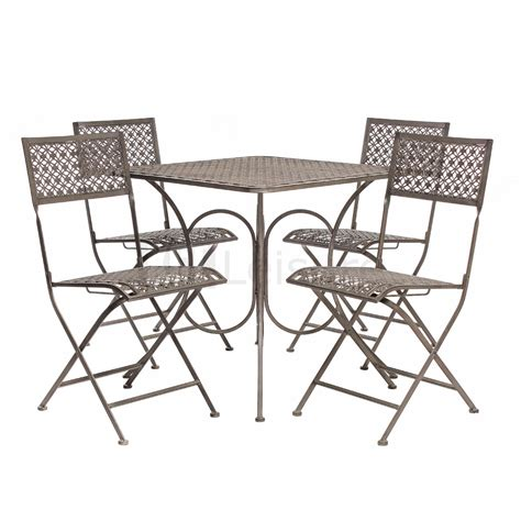 Vintage Steel Bistro Furniture Set Garden Table And Chairs Metal Patio Table And Chairs