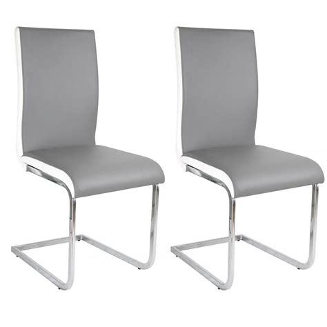 lot de 2 chaises grise et blanche en simili cuir le