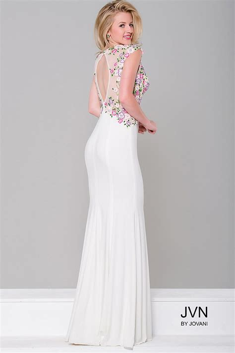 sheer patterned white dresses white multi color lace applique and sheer neckline long