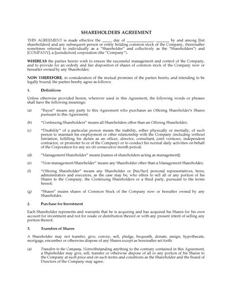 Usa Shareholder Agreement With Community Property Provisions Legal Forms And Business S Corporation Shareholders Agreement Template