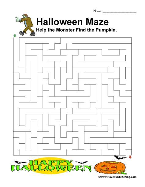 halloween maze printable easy halloween worksheets have fun teaching