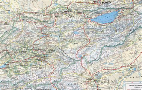 map on road map geographic central asia kyrgyzstan khirgizstan