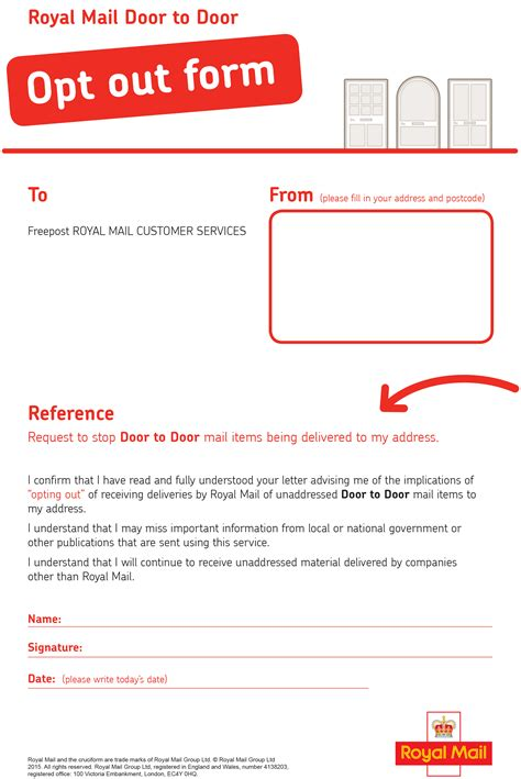 Finders Opt Out Royal Mail Door To Door Opt Out Form Commercial Waste