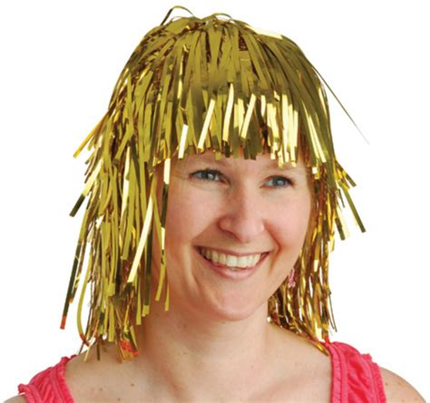 wholesale gold tinsel foil party wig sku 1904807 dollardays