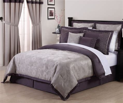 Purple And Gray Bedding Sets by De Boise Purple Grey 8pc Embroidery Bedding Comforter Set