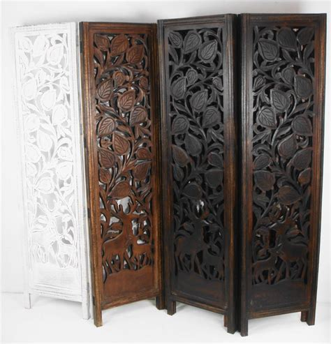 Wooden Screen Room Divider 4 Panel Carved Indian Stag Deer Screen Wooden Screen Room Divider 176x184cm Scr10vaa